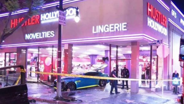 Aston Martin Wearing Racy Yellow Stripes Crashes Into a Hustler Lingerie Store – NBC Los Angeles